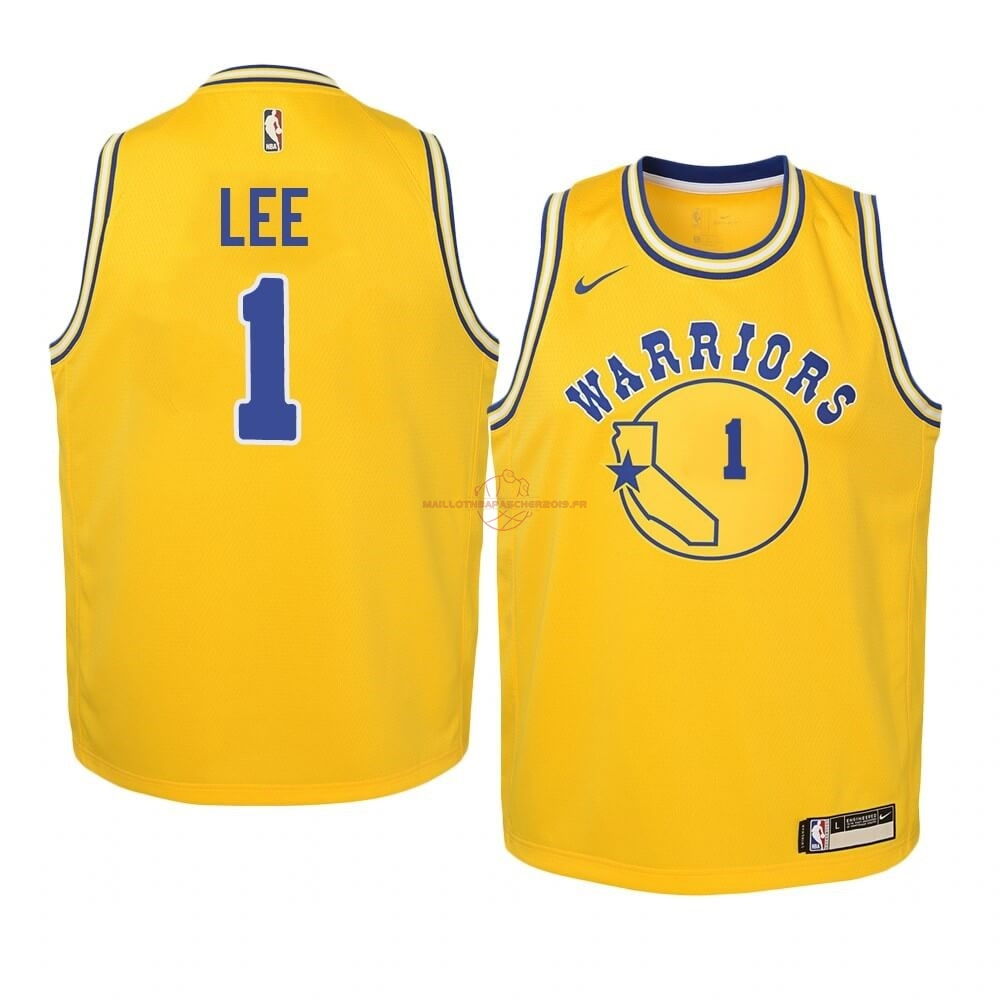 Achat Maillot NBA Enfant Golden State Warriors NO.1 Damion Lee Or Hardwood Classics 2019-20 pas cher