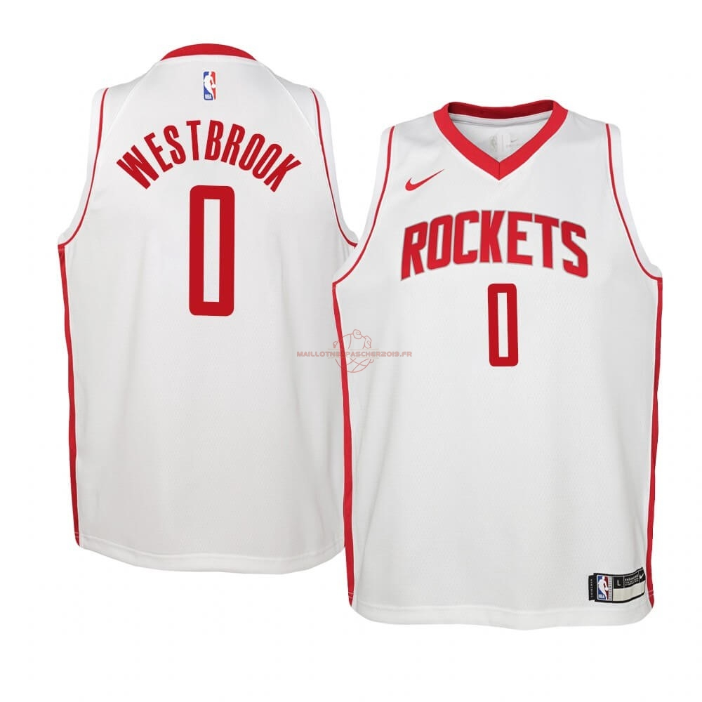Achat Maillot NBA Enfant Houston Rockets NO.0 Russell Westbrook Blanc Association 2019-20 pas cher