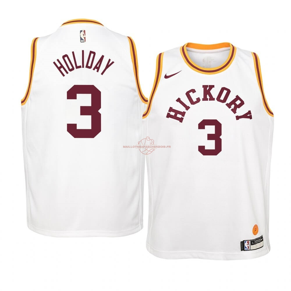 Achat Maillot NBA Enfant Indiana Pacers NO.3 Aaron Holiday Nike Retro Blanc pas cher