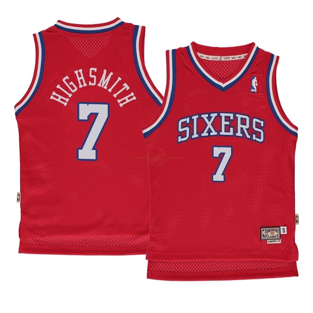 Achat Maillot NBA Enfant Philadelphia Sixers NO.7 Haywood Highsmith Rouge Hardwood Classics 1982-83 pas cher