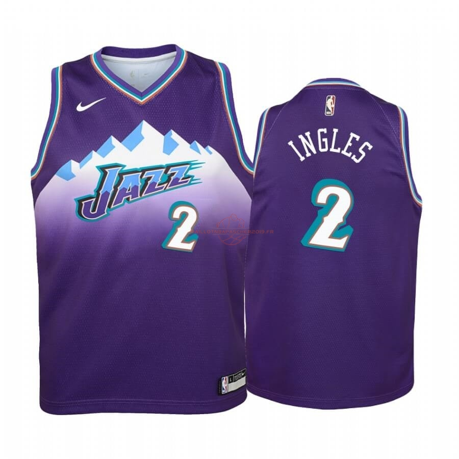 Achat Maillot NBA Enfant Utah Jazz NO.2 Joe Ingles Pourprel Hardwood Classics 2019-20 pas cher