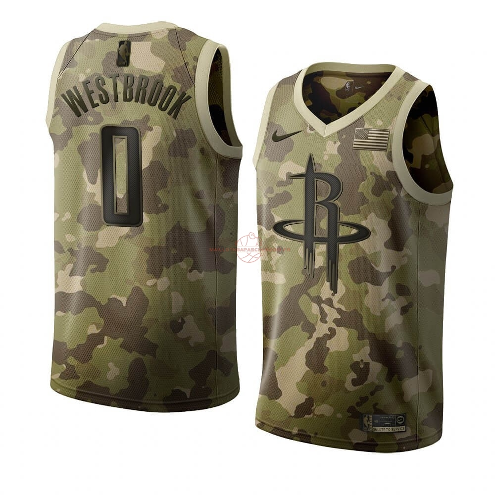 Achat Maillot NBA Nike Houston Rockets NO.0 Russell Westbrook Camouflage 2019 pas cher