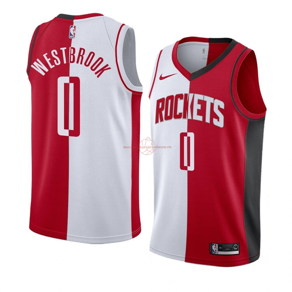 Achat Maillot NBA Nike Houston Rockets NO.0 Russell Westbrook Rouge Blanc Split Edition pas cher