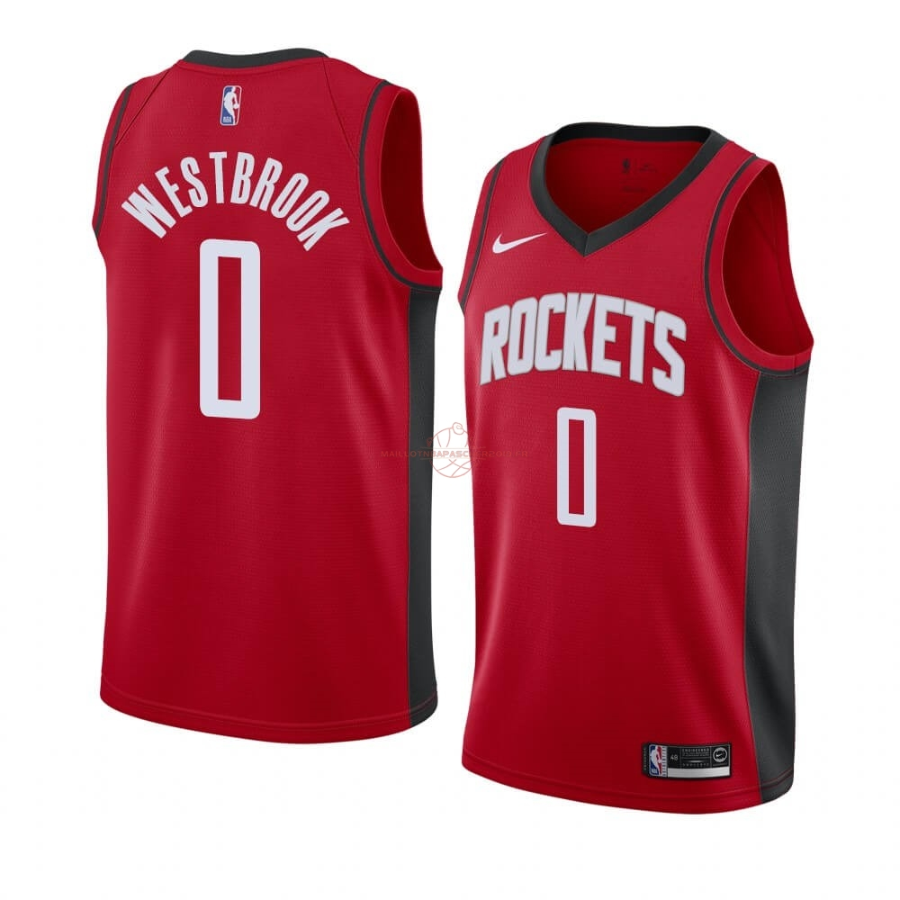 Achat Maillot NBA Nike Houston Rockets NO.0 Russell Westbrook Rouge Icon 2019-20 pas cher