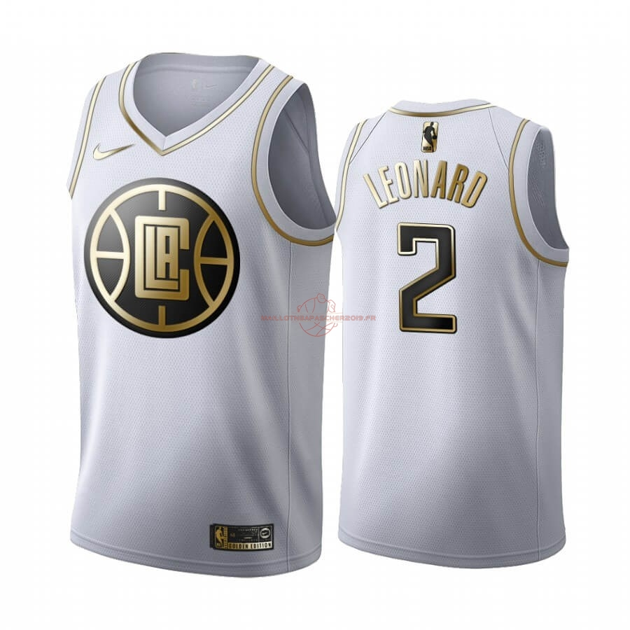 Achat Maillot NBA Nike Los Angeles Clippers NO.2 Kawhi Leonard Blanc Or 2019-20 pas cher