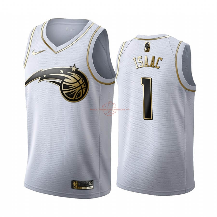 Achat Maillot NBA Nike Orlando Magic NO.1 Jonathan Isaac Blanc Or 2019-20 pas cher