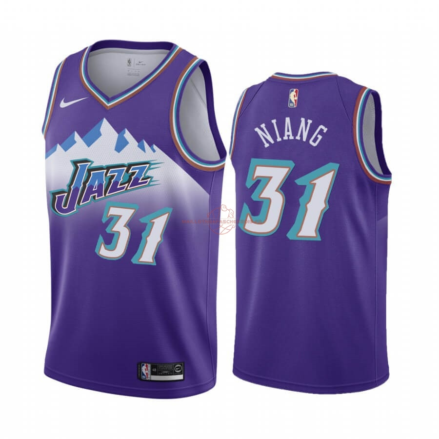 Achat Maillot NBA Utah Jazz NO.31 Georges Niang Pourprel Hardwood Classics 2019-20 pas cher
