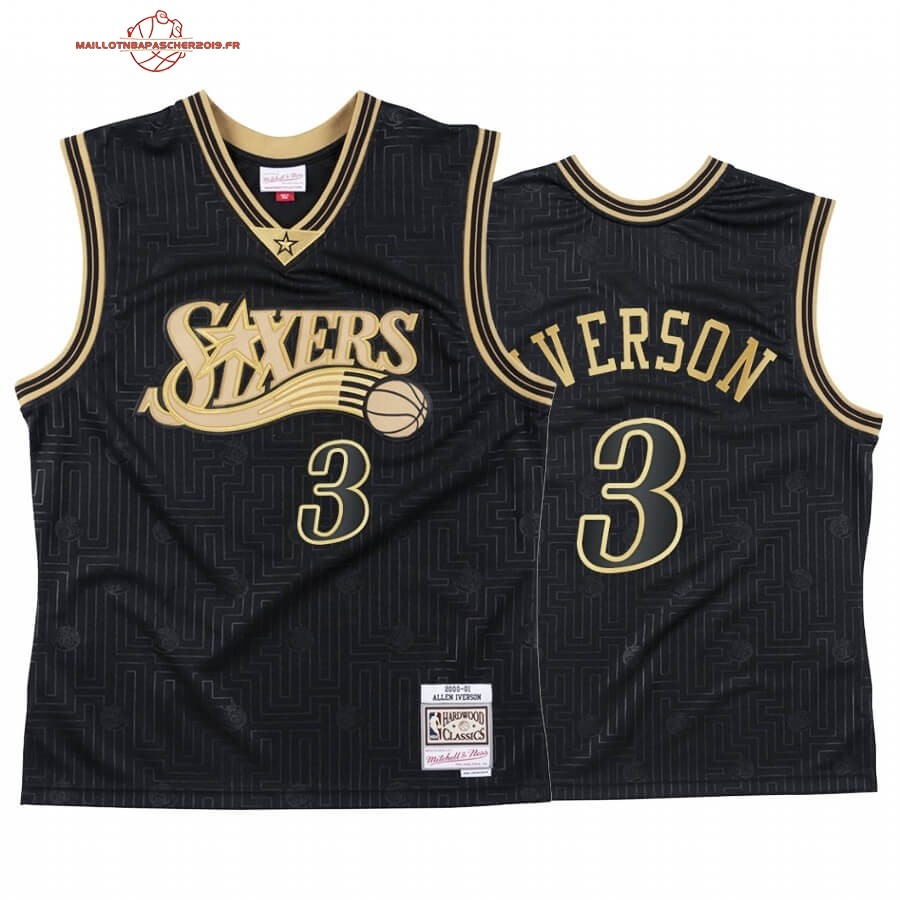 Achat - Maillot NBA CNY Throwback Philadelphia 76ers NO.3 Allen Iverson Noir 2020