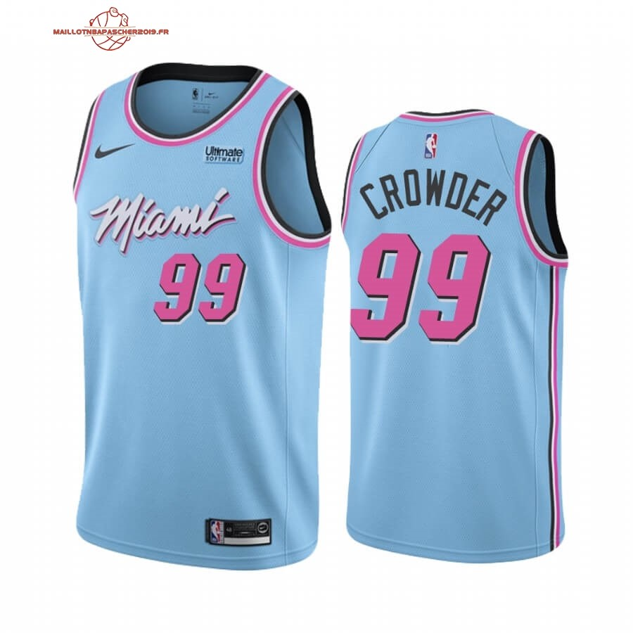 Achat - Maillot NBA Nike Miami Heat NO.99 Jae Crowder Bleu Ville 2019-20