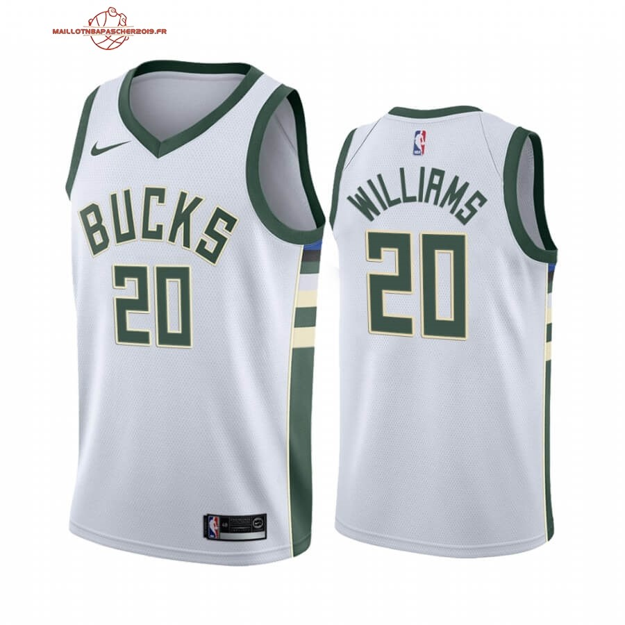 Achat - Maillot NBA Nike Milwaukee Bucks NO.20 Marvin Williams Blanc Association 2019-20