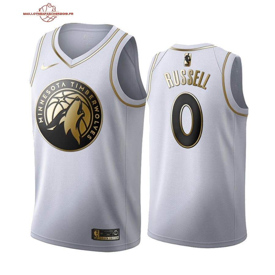 Achat - Maillot NBA Nike Minnesota Timberwolves NO.0 D'angelo Russell Blanc Or 2019-20