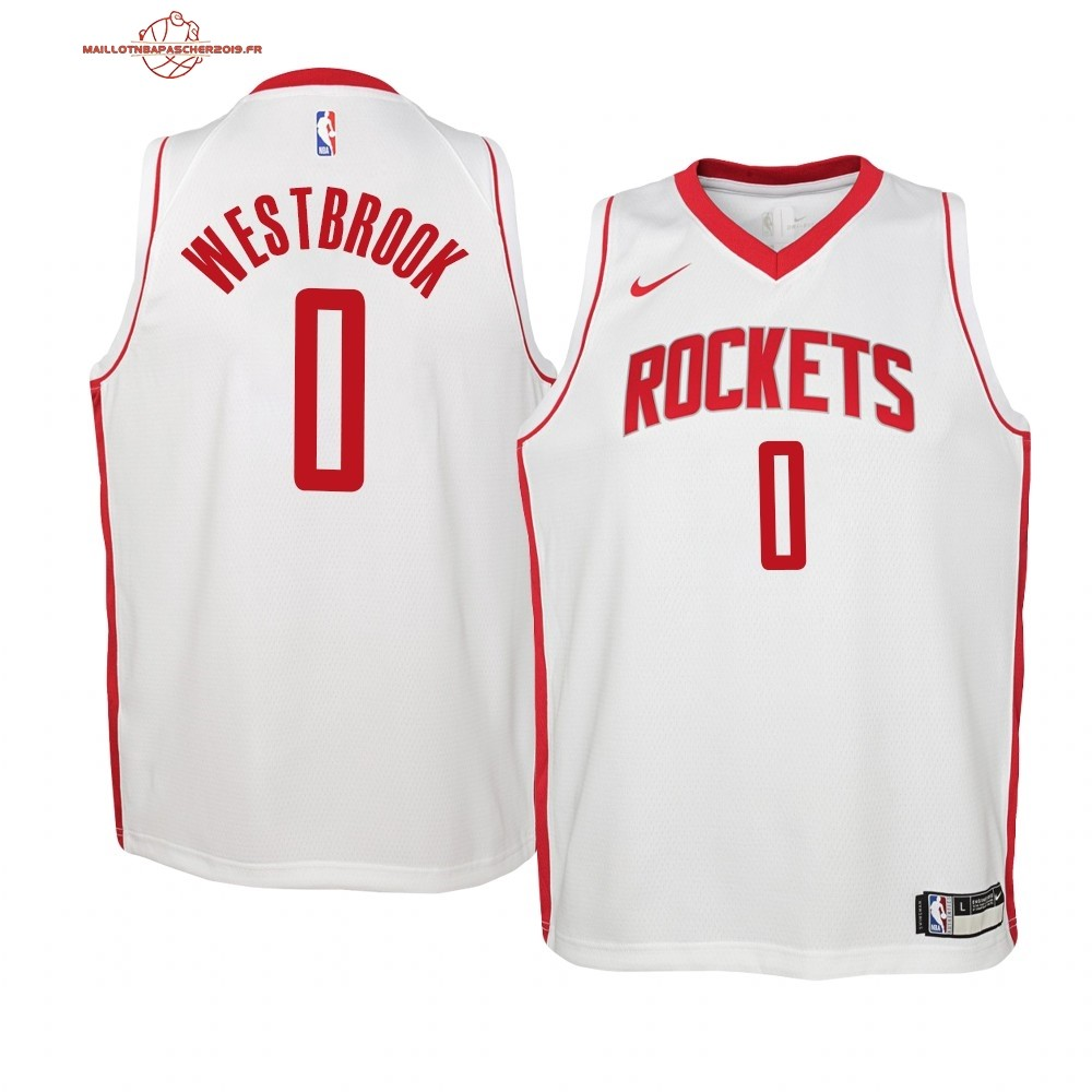Achat - Maillot NBA Enfant Houston Rockets NO.0# Russell Westbrook Blanc Association 2019-20
