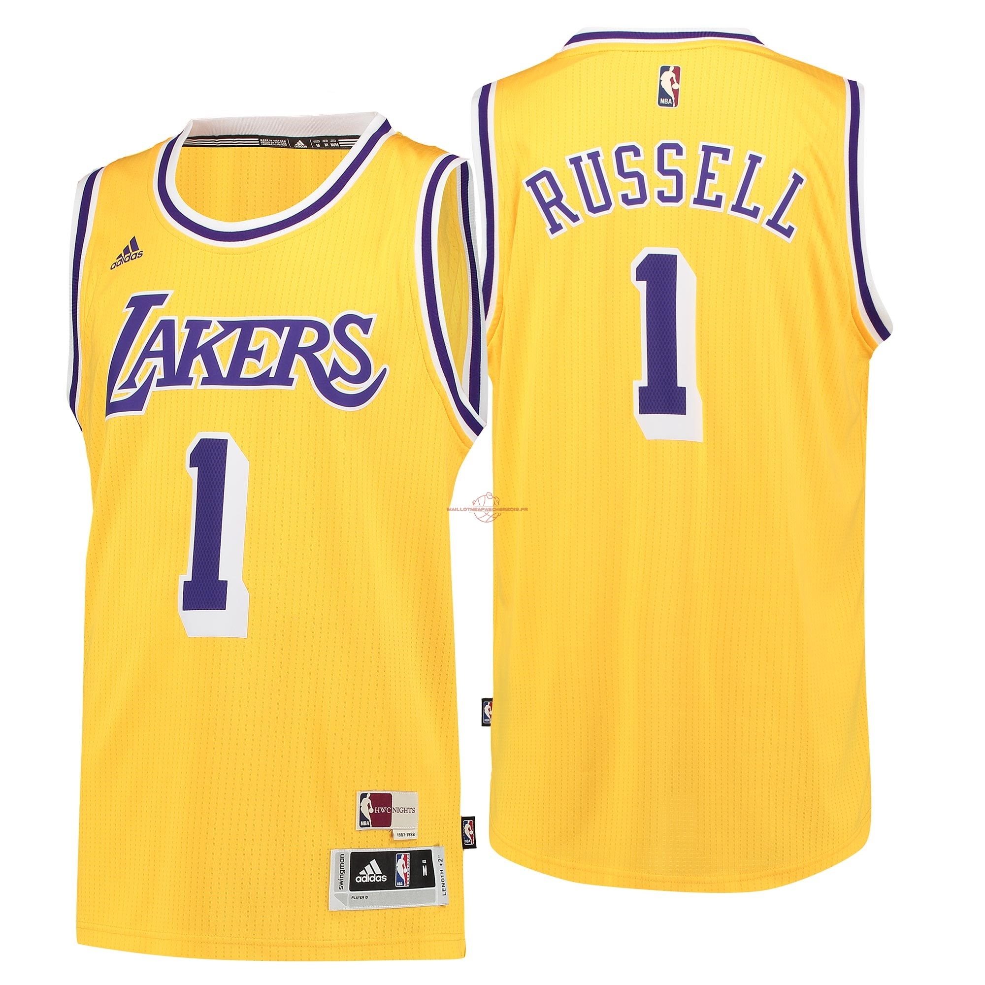 Achat Maillot NBA Los Angeles Lakers NO.1 D'Angelo Russell Retro Bleu pas cher