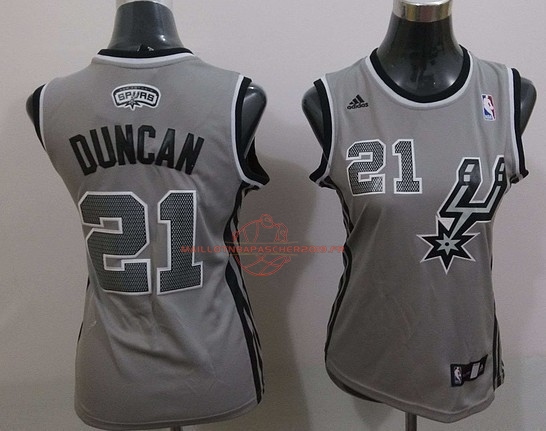 Achat Maillot NBA Femme 2013 Static Fashion NO.21 Tim Duncan Gris pas cher