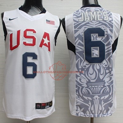 Achat Maillot NBA 2008 USA NO.6 James Blanc pas cher