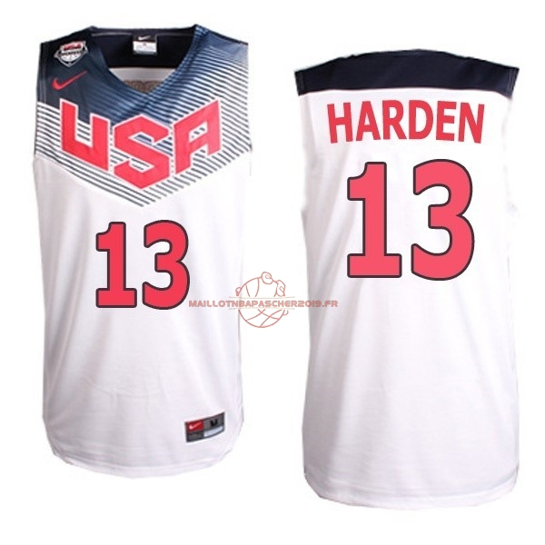 Achat Maillot NBA 2014 USA NO.13 Harden Blanc pas cher