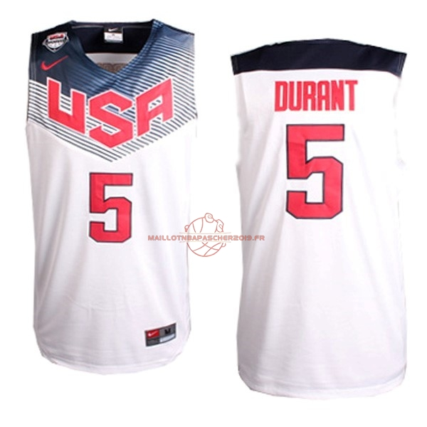 Achat Maillot NBA 2014 USA NO.5 Durant Blanc pas cher