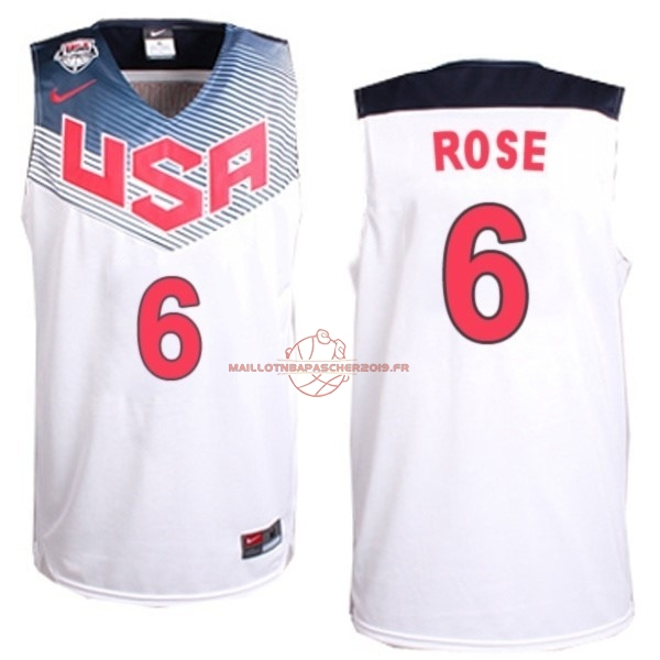 Achat Maillot NBA 2014 USA NO.6 Rose Blanc pas cher