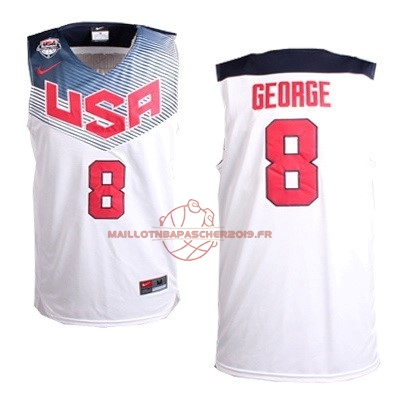 Achat Maillot NBA 2014 USA NO.8 George Blanc pas cher