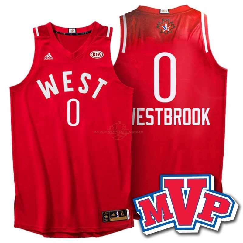 Achat Maillot NBA 2016 All Star NO.0 Russell Westbrook Rouge pas cher