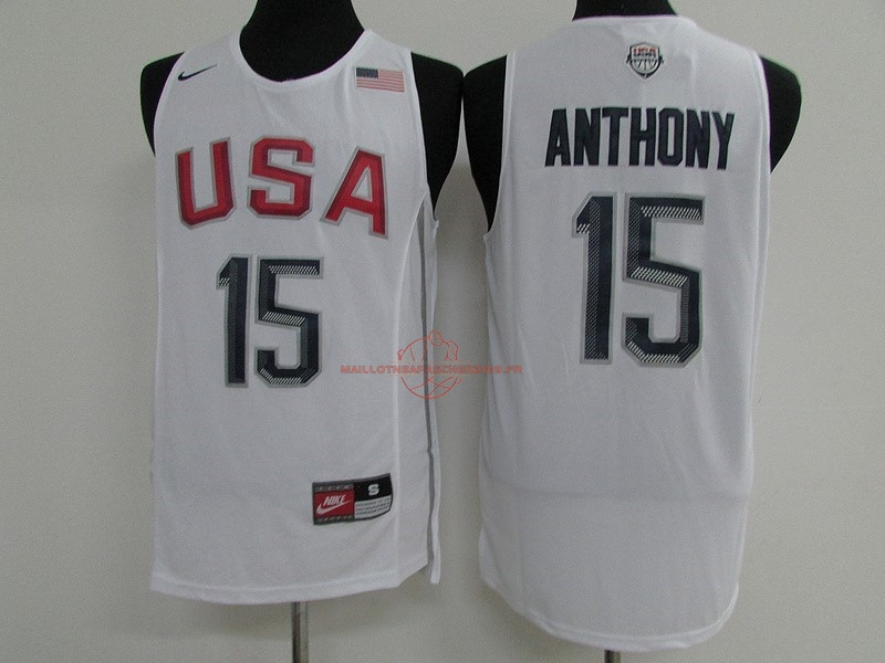 Achat Maillot NBA 2016 USA NO.15 Carmelo Anthony Blanc pas cher