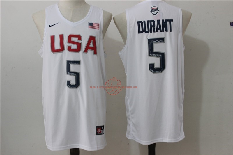 Achat Maillot NBA 2016 USA NO.5 Durant Blanc pas cher