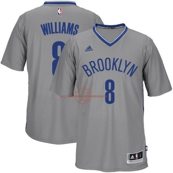 Achat Maillot NBA Brooklyn Nets Manche Courte No.8 Deron Michael Williams Gris pas cher