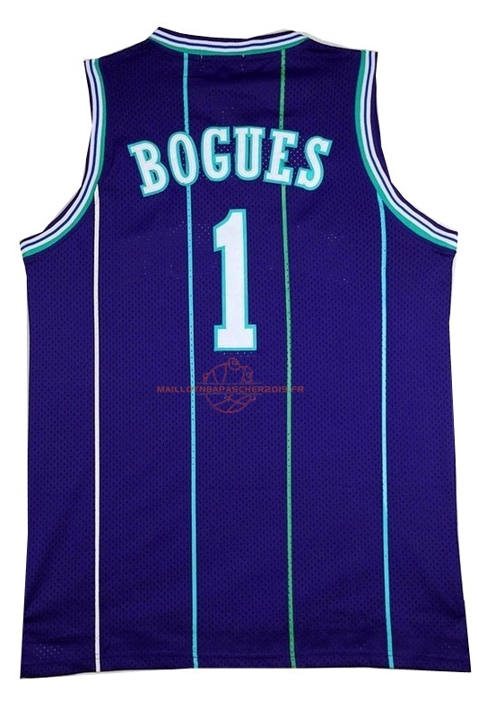 Achat Maillot NBA Charlotte Hornets No.1 Tyrone Curtis Bogues Bleu pas cher