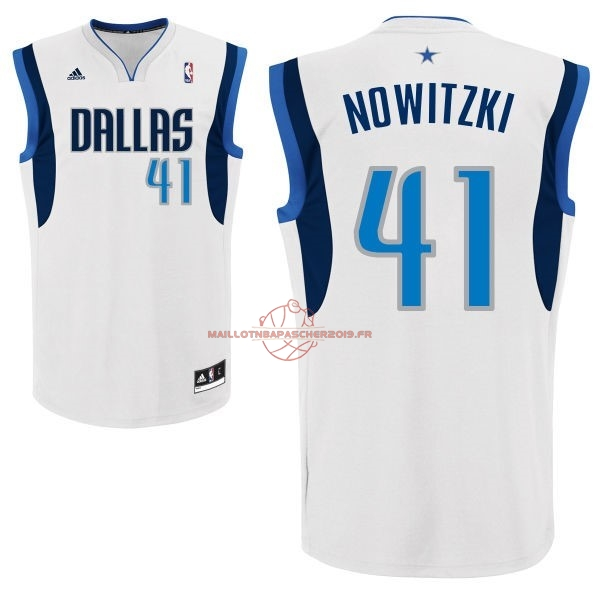 Achat Maillot NBA Dallas Mavericks NO.41 Dirk Nowitzki Blanc pas cher
