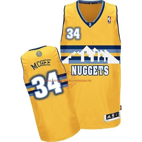 Achat Maillot NBA Denver Nuggets NO.34 JaVale McGee Jaune pas cher