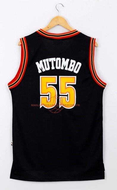 Achat Maillot NBA Denver Nuggets NO.55 Dikembe Mutombo Noir pas cher