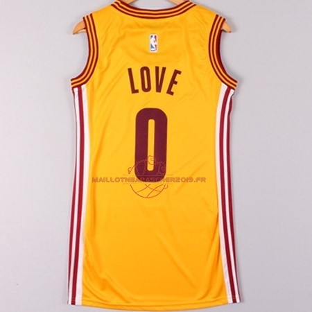 Achat Maillot NBA Femme Cleveland Cavaliers NO.0 Kevin Love Jaune pas cher
