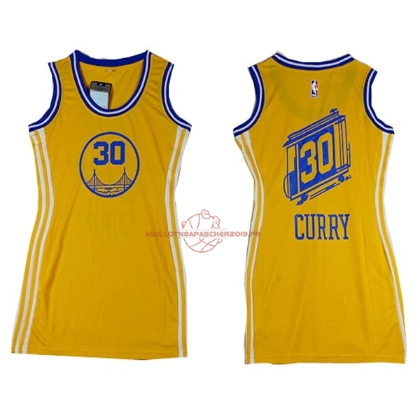 Achat Maillot NBA Femme Golden State Warriors NO.30 Stephen Curry Jaune pas cher