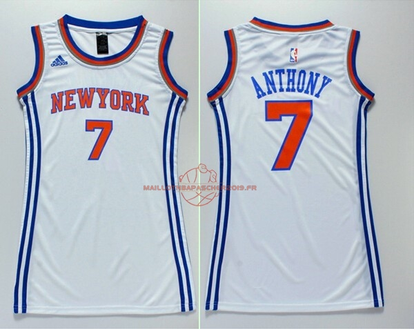Achat Maillot NBA Femme New York Knicks NO.7 Carmelo Anthony Blanc pas cher