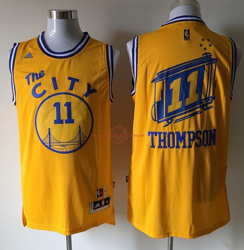Achat Maillot NBA Golden State Warriors NO.11 Klay Thompson Jaune pas cher