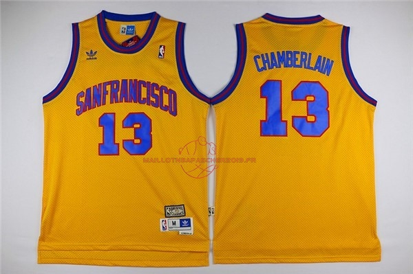 Achat Maillot NBA Golden State Warriors NO.13 Wilt Chamberlain Jaune pas cher