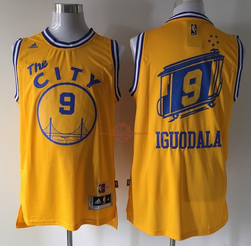 Achat Maillot NBA Golden State Warriors NO.9 Andre Iguodala Retro Jaune pas cher