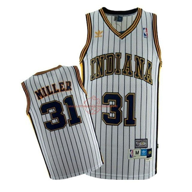 Achat Maillot NBA Indiana Pacers NO.31 Reggie Miller Blanc Bande pas cher