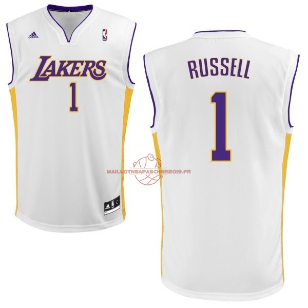 Achat Maillot NBA Los Angeles Lakers NO.1 D'Angelo Russell Blanc pas cher