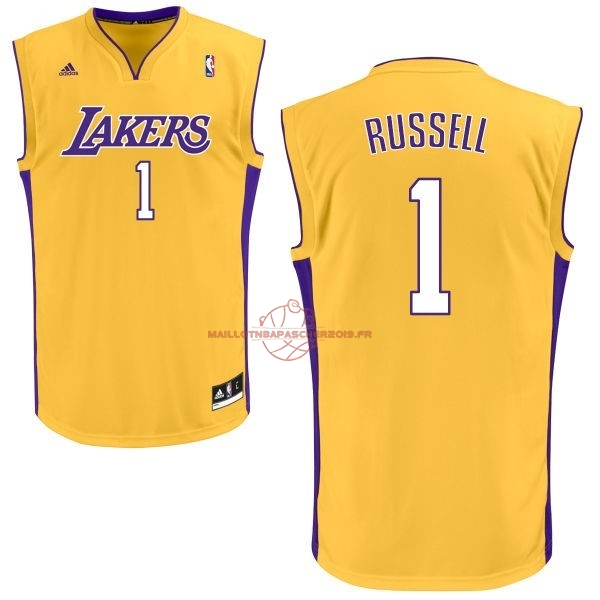 Achat Maillot NBA Los Angeles Lakers NO.1 D'Angelo Russell Jaune pas cher