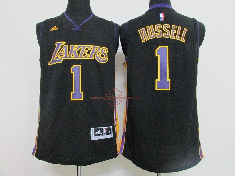 Achat Maillot NBA Los Angeles Lakers NO.1 D'Angelo Russell Noir pas cher