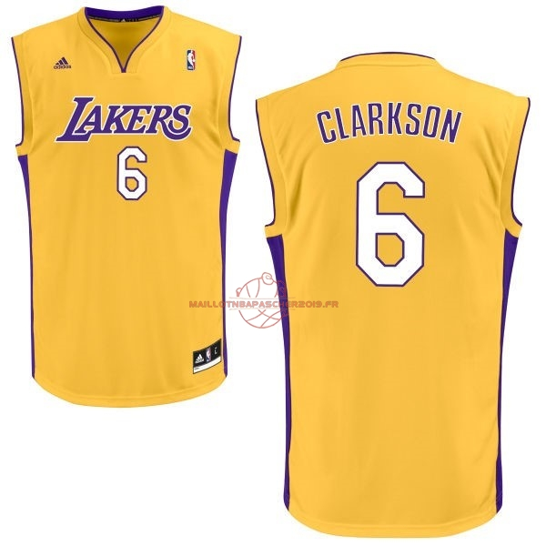 Achat Maillot NBA Los Angeles Lakers NO.6 Jordan Clarkson Jaune pas cher