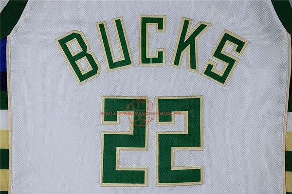 Achat Maillot NBA Milwaukee Bucks NO.22 Khris Middleton Blanc pas cher