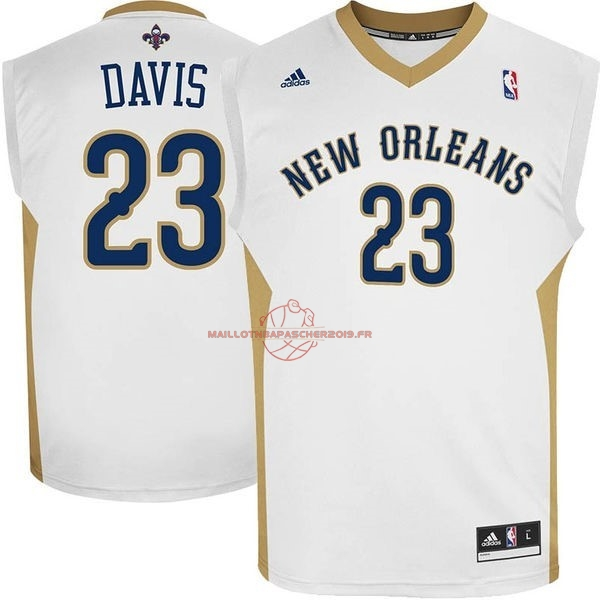 Achat Maillot NBA New Orleans Pelicans NO.23 Anthony Davis Blanc pas cher
