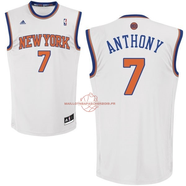 Achat Maillot NBA New York Knicks NO.7 Carmelo Anthony Blanc pas cher