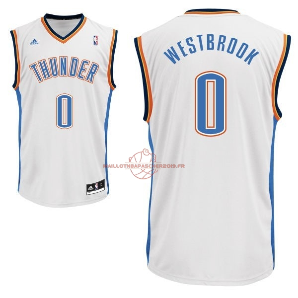 Achat Maillot NBA Oklahoma City Thunder NO.0 Russell Westbrook Blanc pas cher
