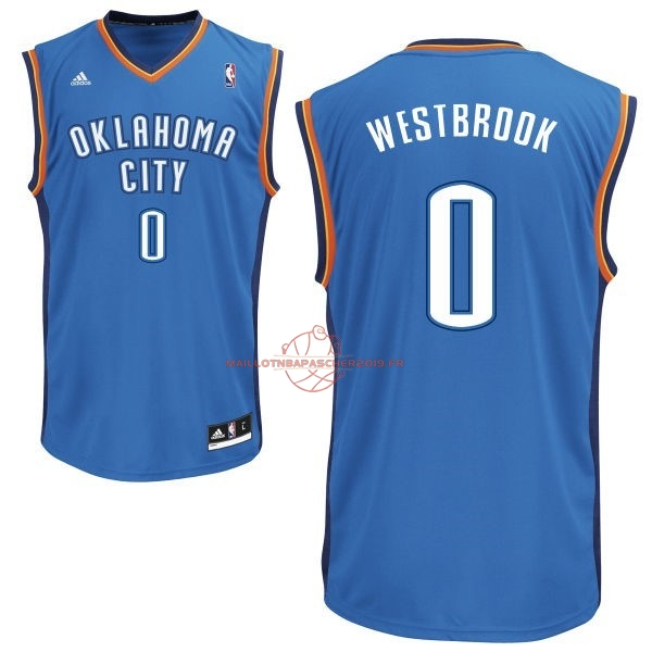 Achat Maillot NBA Oklahoma City Thunder NO.0 Russell Westbrook Bleu pas cher