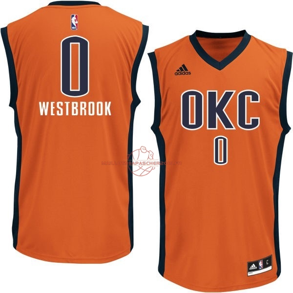 Achat Maillot NBA Oklahoma City Thunder NO.0 Russell Westbrook Orange pas cher