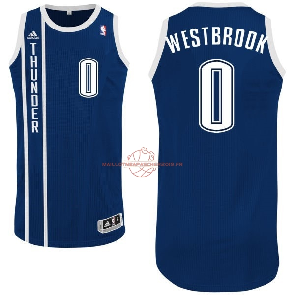 Achat Maillot NBA Oklahoma City Thunder NO.0 Russell Westbrook Retro Bleu pas cher