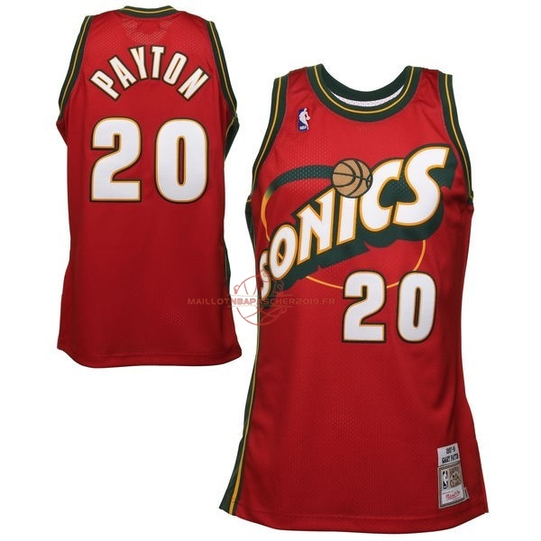 Achat Maillot NBA Seattle Supersonics NO.20 Gary Payton Retro Rouge pas cher